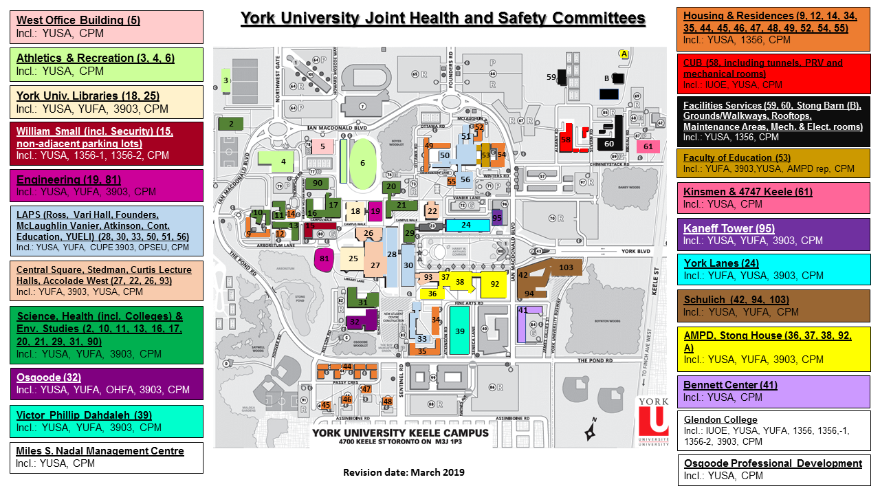York University Joint Health and Safety Committee Campus Map